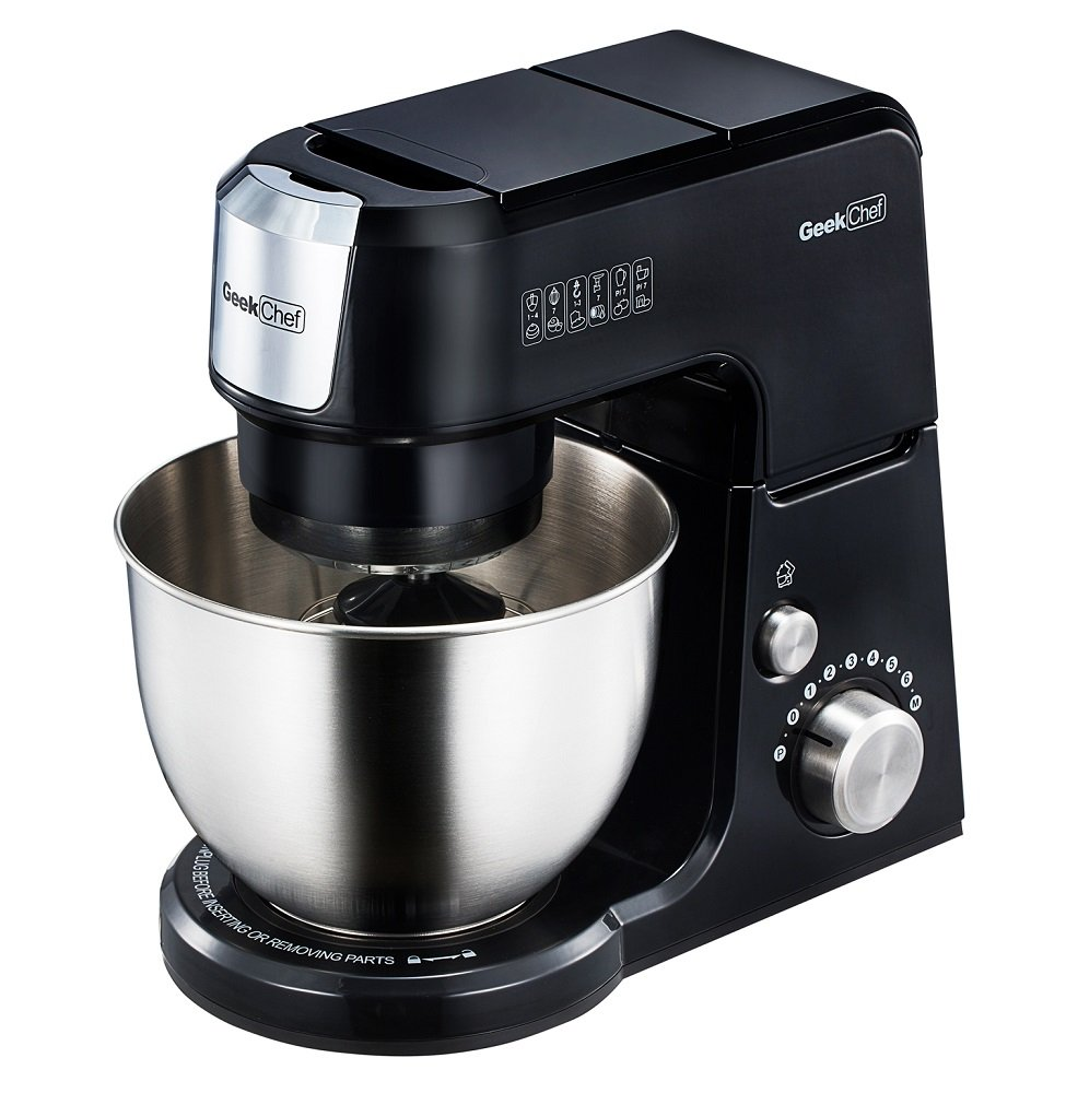 Geek Chef Mini 4-in-1 Stand Mixer: Multi-function, 2.6 Quart Stainless Steel Bowl, 7 Speeds with pulse, Die-cast Tilt Head. Includes Pouring Shield, Beater, Whisk and Dough Hook (Black)