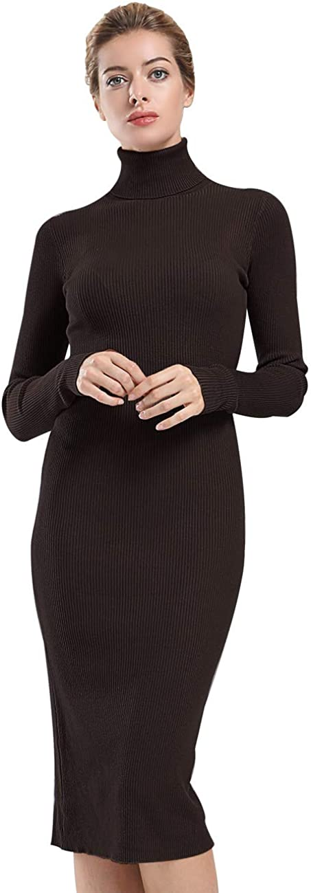 ninovino Womens Turtleneck Ribbed Knit Long Sleeve Slim Fit Sweater Dress