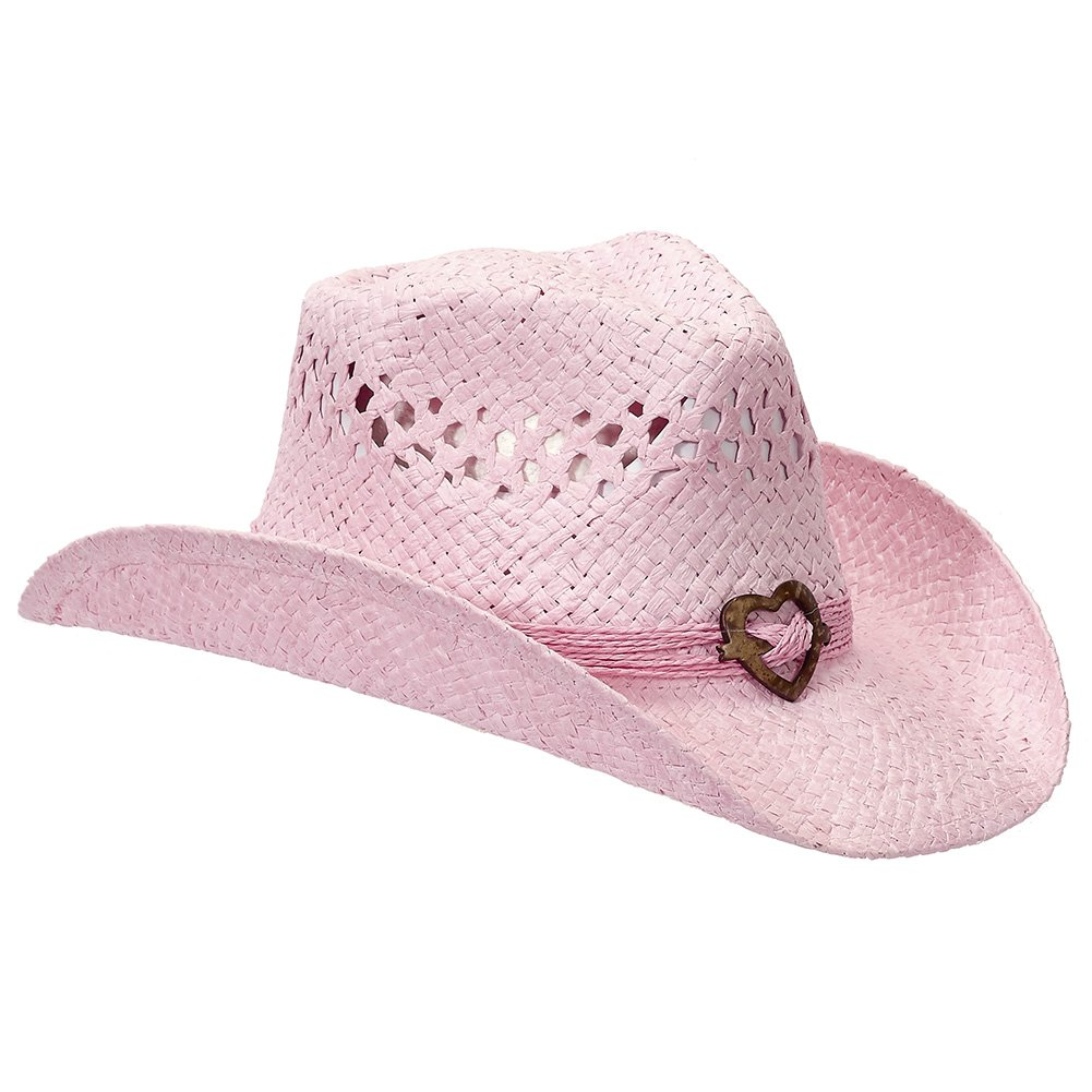 Port Classic Shapeable Straw Country Cowboy Hat, Heart (Pink)