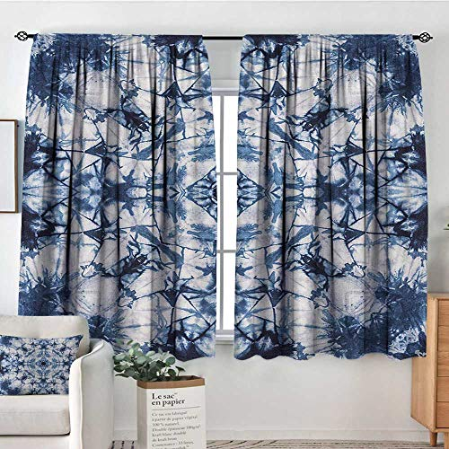 Psychedelic Window Curtain Drape Old Fashion Kaleidoscope Loose Unfold Motley Pattern with Inner Outer Layers Decorative Curtains for Living Room 72