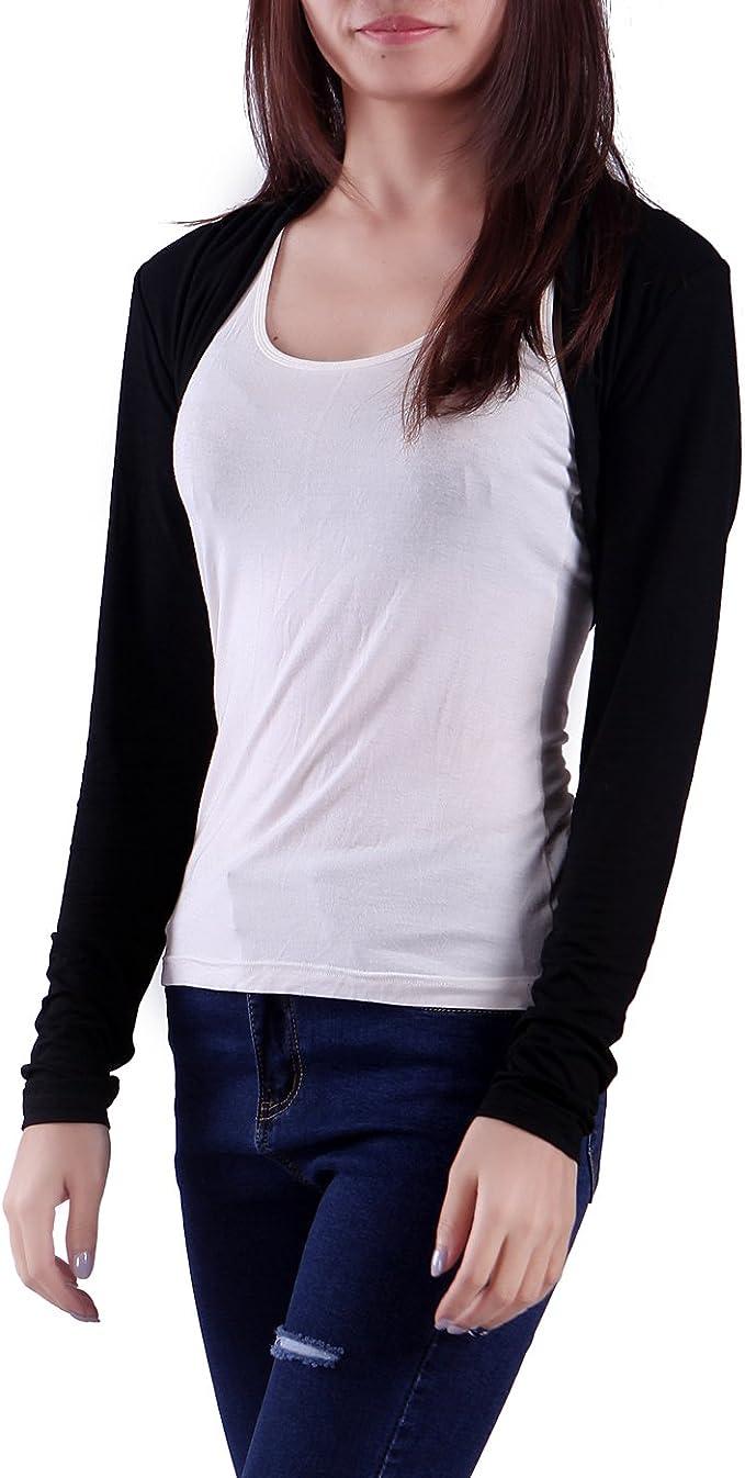 Sweatwater Womens Long Sleeve Open Front Shrug Bolero Casual See Through Cardigan