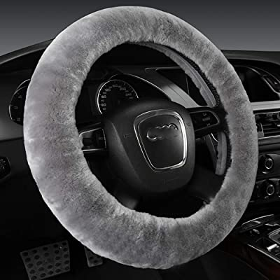 U&M Wool Car Steering Wheel Cover Soft Fluffy Natural Sheepskin Vehicle Non-slip Wheel Cushion Protector Universal Fit for 15 inch: Automotive