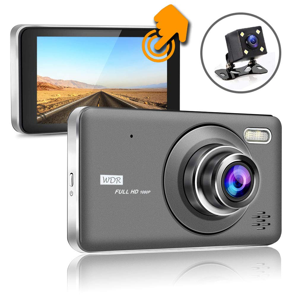 SHISHUO Touch Screen Dash Cam - Front and Rear Camera 4 Inch Full Touch Screen 1080P HD IPS Display Vehicle Driving Recorder, Built In G-Sensor, Motion Detection, Parking Monitor, HDR Night Vision