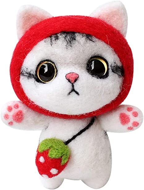 DIY Wool Felt Package Craft Cat Kitten Shiba Inu  Animals Needle Felting Kit Set