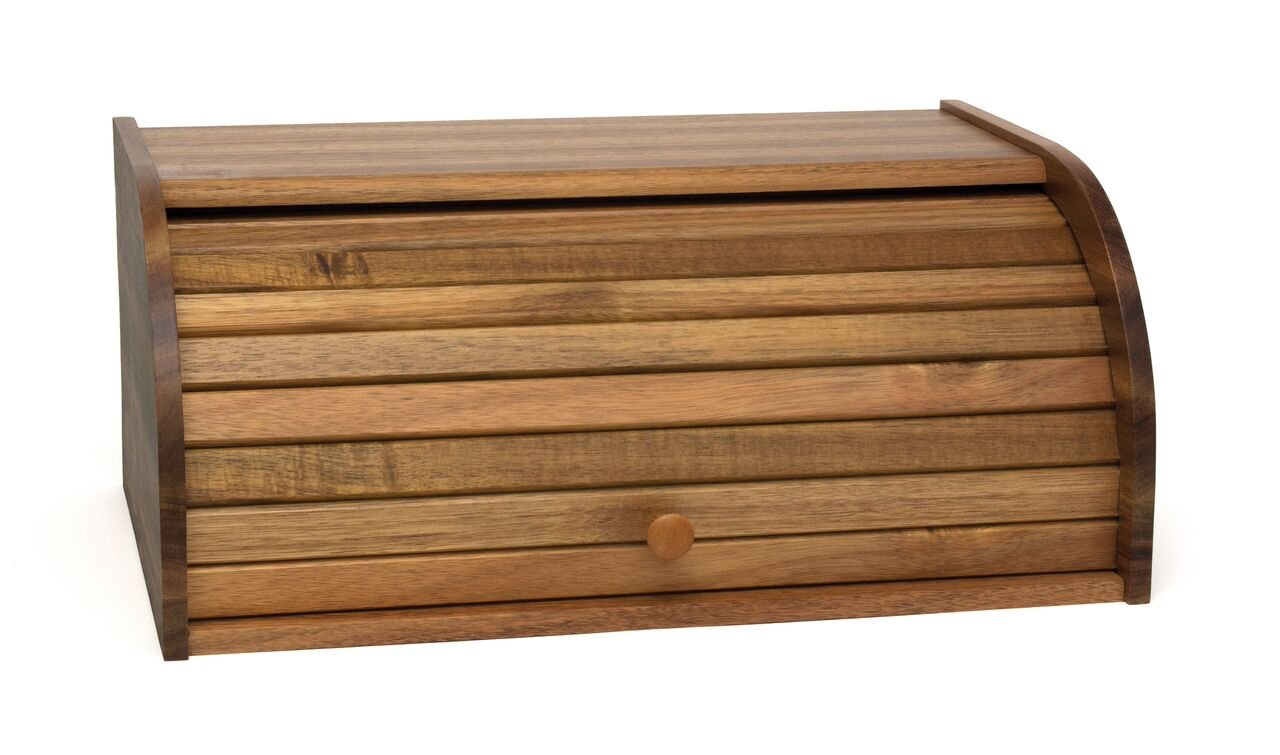 Lipper International 1146 Acacia Wood Rolltop Bread Box, 16'' x 10-3/4'' x 7''