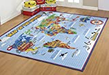 world carpet - Smithsonian Rug World Map Learning Carpets Bedding Play Mat Classroom Decorations Blue Area Rugs 5x7, Cyan