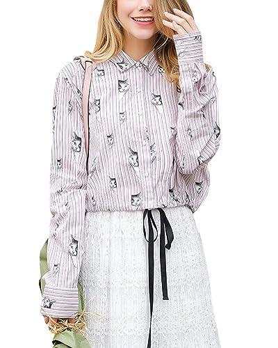 Mujer Blusa Impresión Elegante Camisas Corto Chaqueta Rayas de Manga Larga Suelta Tops