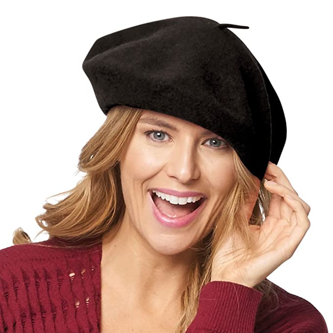 c9edab99abb16 Classic French Beret (Adult)- 100% Wool - Black at Amazon Women s Clothing  store  Parkhurst Beret