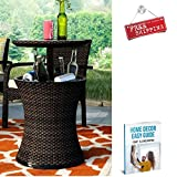 ATS Ice Chest Portable Patio Cooler Wicker Small Outdoor Beer Wine Outside Espresso Bar Ice Cooler & eBook by AllTim3Shopping