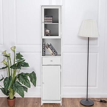 IKAYAA Librería Estantería de Almacenaje Mueble Armario de Almacenaje para Baño Medida:40 * 28 * 180 cm Color Blanco: Amazon.es: Hogar