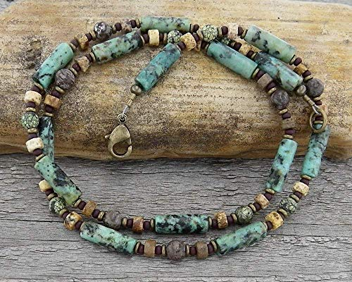 Jasper and African Turquoise Necklace for Men or Women - Serpentine Turquoise Necklace