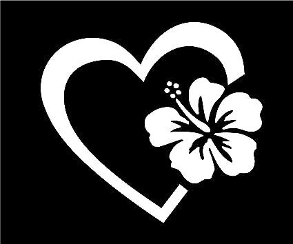 Amazoncom Heart With Hibiscus Flower 4 White Vinyl Decal Sticker