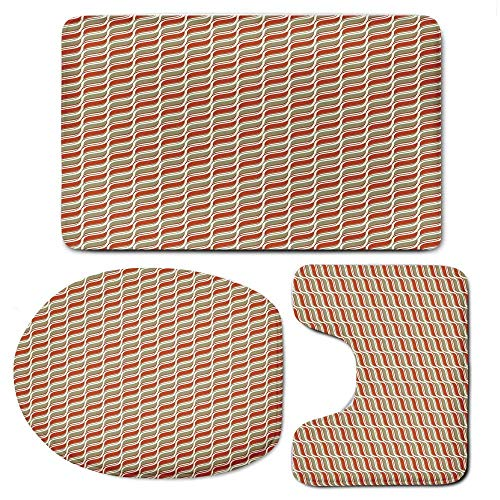 VANKINE 3-Piece Bath Mat Set Bath Rug Set,GeometricInches & U-Shaped Toilet Rug Lid Cover,Abstract Style Wavy Pattern Retro Colors Classical Design ()