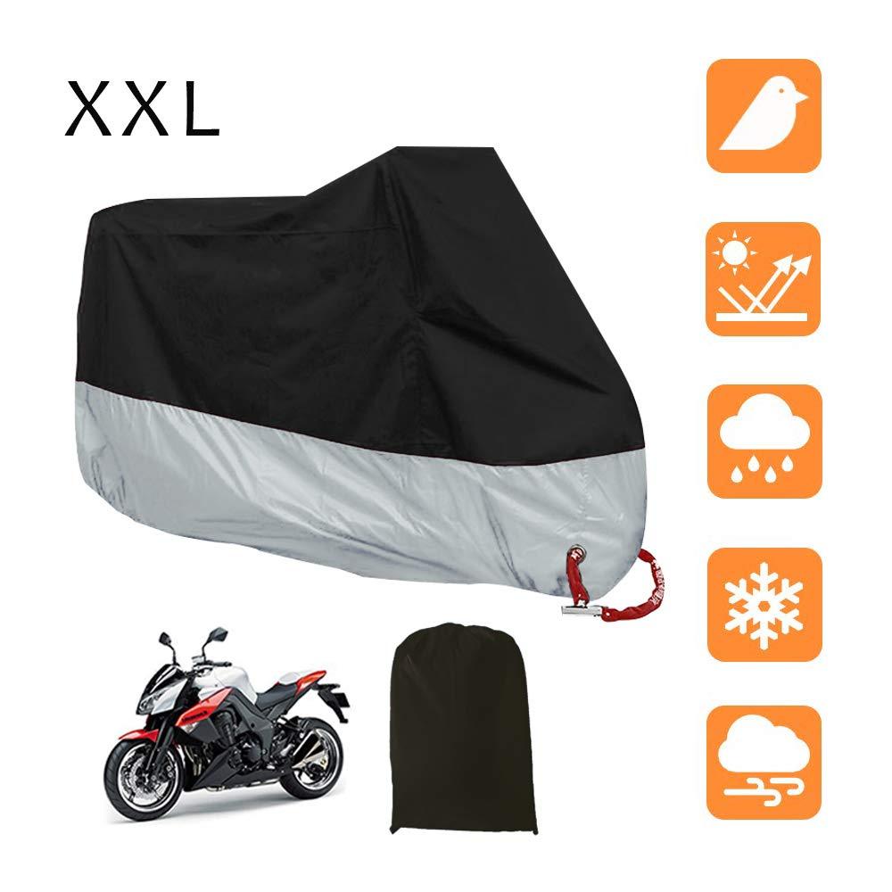 265X105X125cm LucaSng Universale Copertura del motociclo,190T Coprimoto Telo Impermeabile Antipolvere Anti UV Traspirante 3XXL Nero e Argento
