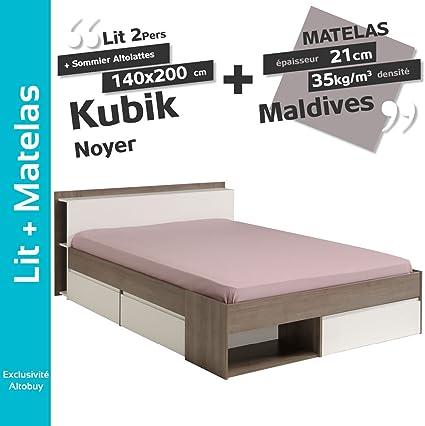 Kubik Nogal – Pack Cama 140 x 200 cm + somier altolattes + ...