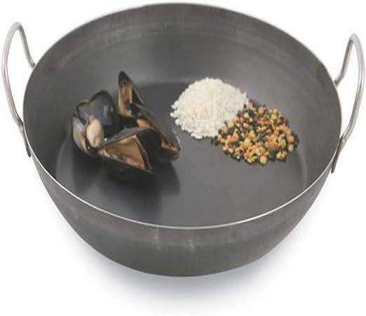 A4171736-14 1//8 in Black Steel Paella Pan World Cuisine