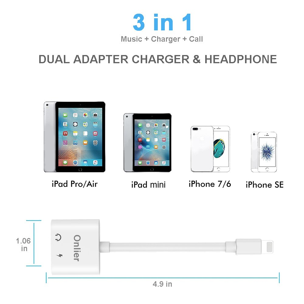 Compatible Adapter & Splitter, Dual Headphone Audio & Charge Adapter,2 in 1 Dual Adapter for Jack Call + Sync + Charging + Music for iPhone X/8/8Plus/7/7Plus