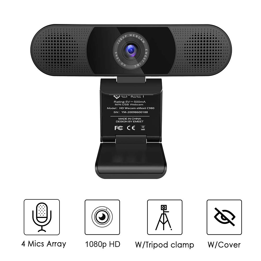 Webcam - eMeet C980 Desktop Camera Full HD 1080p PC Camera for Video Calling, Conferencing, Recording, Streaming, 4 Built-in Omnidirectional Microphones, Noise Reduction, Plug and Play w/Webcam Cover by eMeet