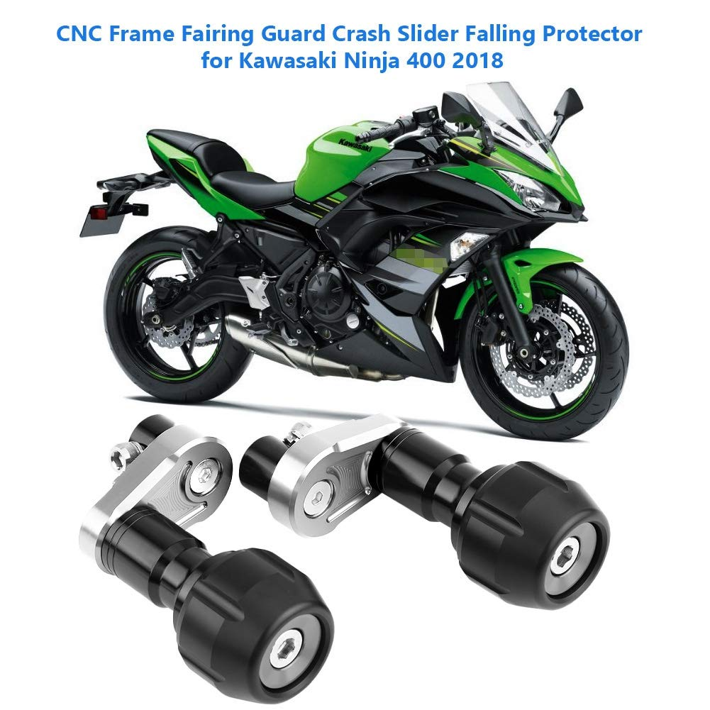 Suuonee Crash Slider, CNC Frame Fairing Guard Crash Slider Falling Protector for Kawasaki Ninja 400 2018(Titanium)