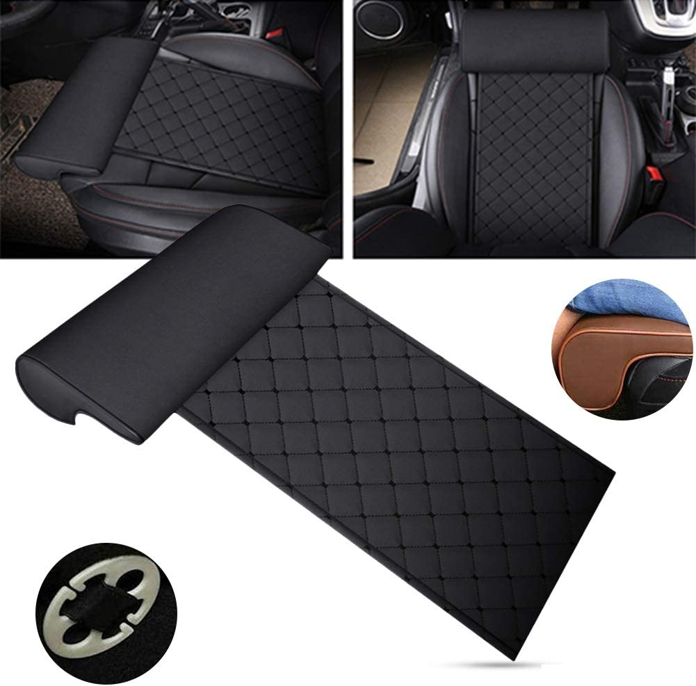 Yaootely Automobile Seat Leather Leg Pad Support Extension Mat Soft Foot Support Leg Leather Cushion Knee Pad Memory Universal Black