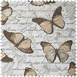 Yorkshire Fabric Shop Exclusiva tela Natural luz blanca marrón color mariposa Animal suave tejido de felpilla tela de tapicería perfecto para muebles muebles Material