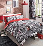 """LONDON CITY PRINTED CURTAINS SET WITH TIE BACKS - 66""""x""""72"""