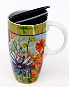 Cypress Home Ceramic Travel Mug with Gift Box, 17 ounces (Blooming Flowers)