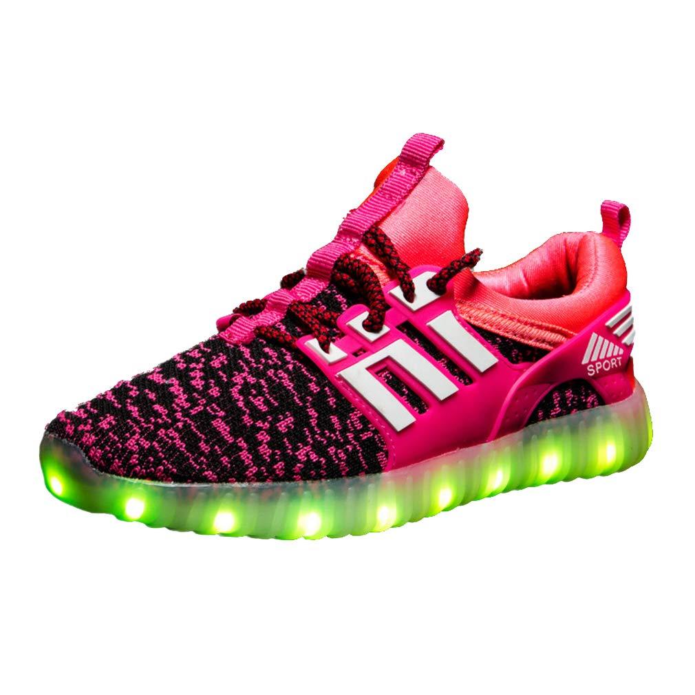 Taille: 25-37 Chaussures LED pour Enfants Baskets Lumineuse Clignotants Rechargeable Gar/çons Filles Velcro /À Lacets Chaussures de Sport Respirant Confortable Chaussures Plates Loisirs 7 Couleurs