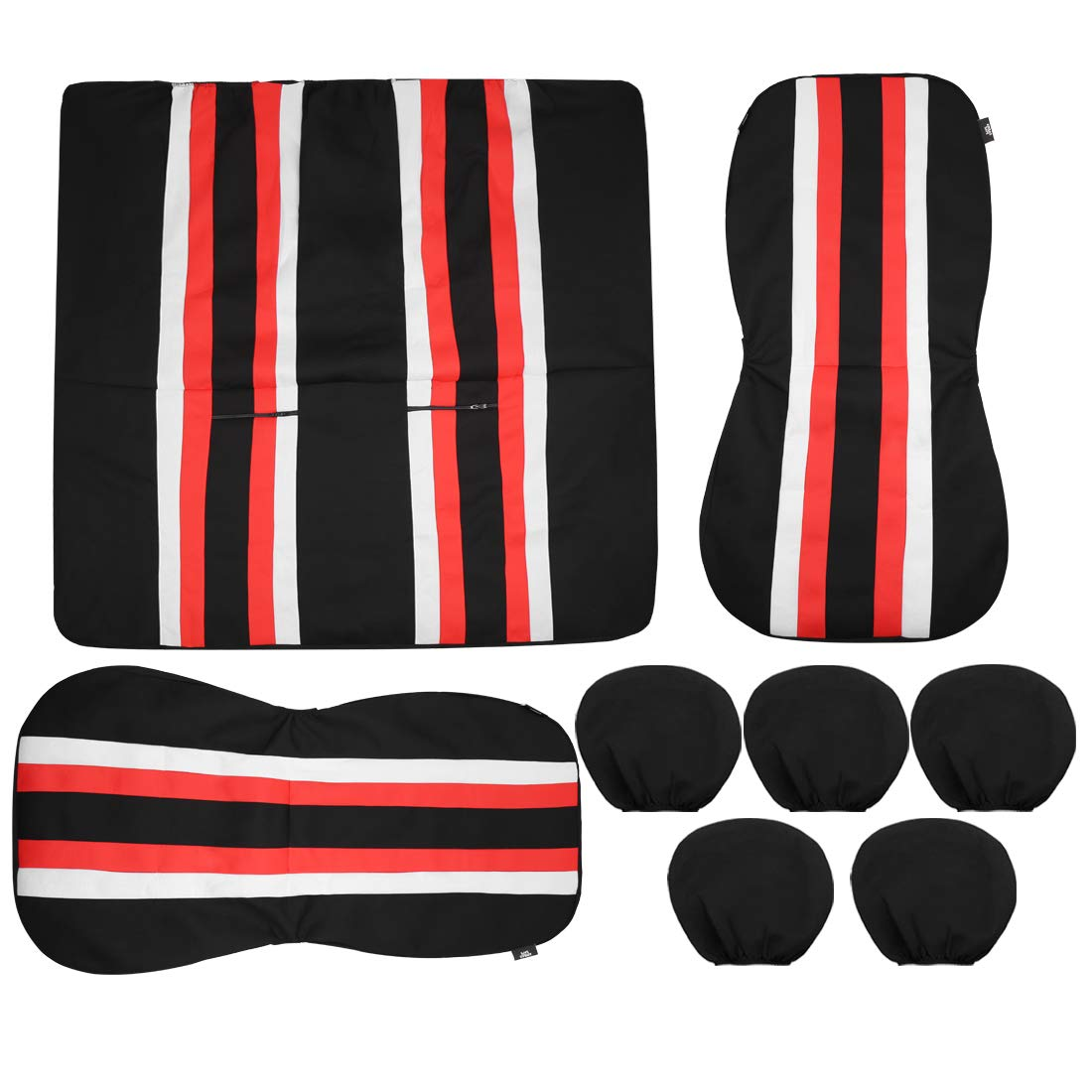 uxcell Universal Front Back Seat Cover Cushion Mat Protector for Car SUV Truck Black Red White Polyester Mesh 8pcs