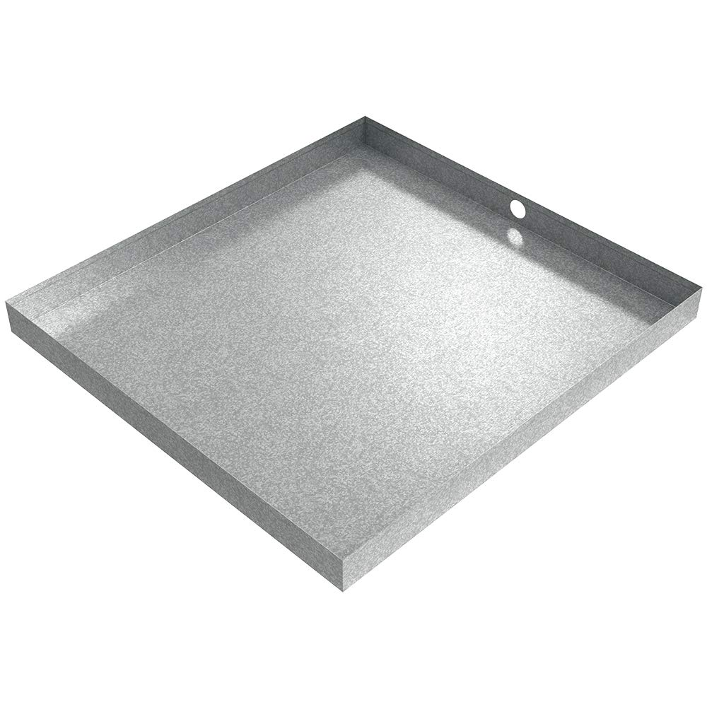 32'' x 30'' x 2.5'' Galvanized Washing Machine Drain Pan with PVC Drain Fitting by Killarney Metals