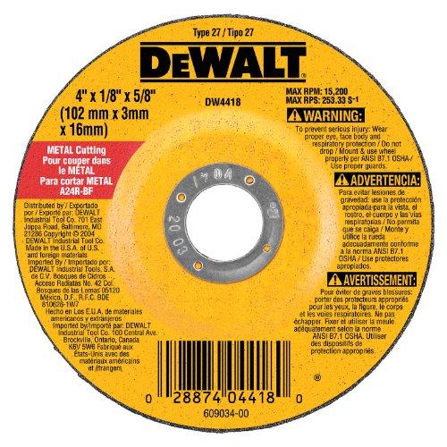 028874044180 - DEWALT DW4418 4-Inch by 1/4-Inch by 5/8-Inch General Purpose Metal Cutting Wheel carousel main 0