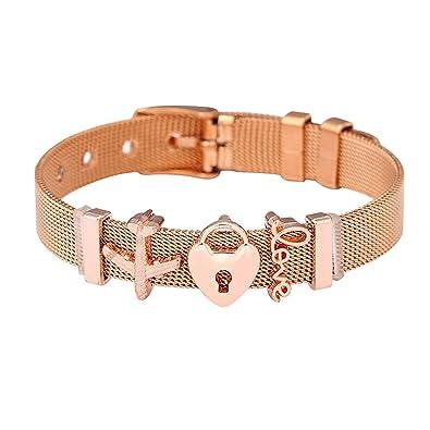a4b8f125fe775 Amazon.com: HUANGH Stainless Steel Mesh BraceletCharms Fine Bracelet ...