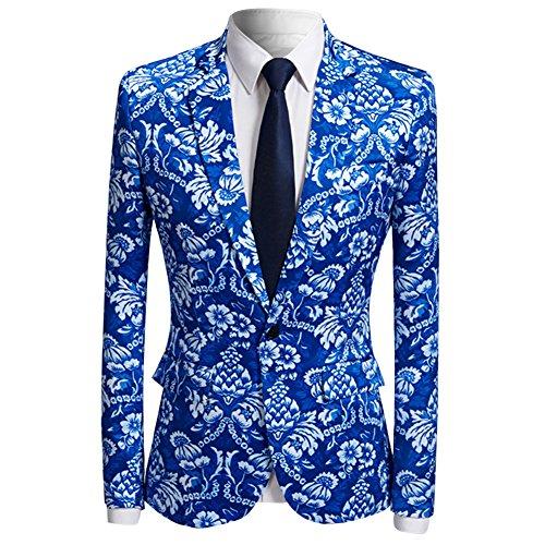 Men's Fashion Casual Print One Button Suit Jacket Blazer Blue