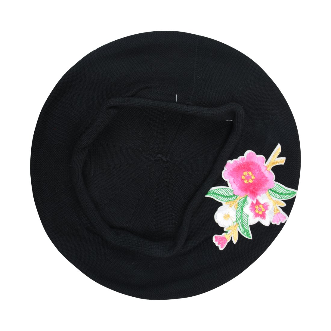 Landana Headscarves Black 100% Cotton Beret French Ladies Hat with Pink Flower Bouquet by Landana Headscarves