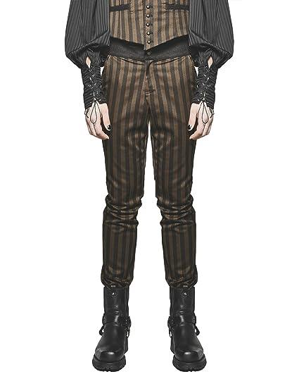 319d31f21bc0bb Punk Rave Mens Steampunk Pants Trousers Brown Black Stripe Gothic VTG  Victorian: Amazon.co.uk: Clothing