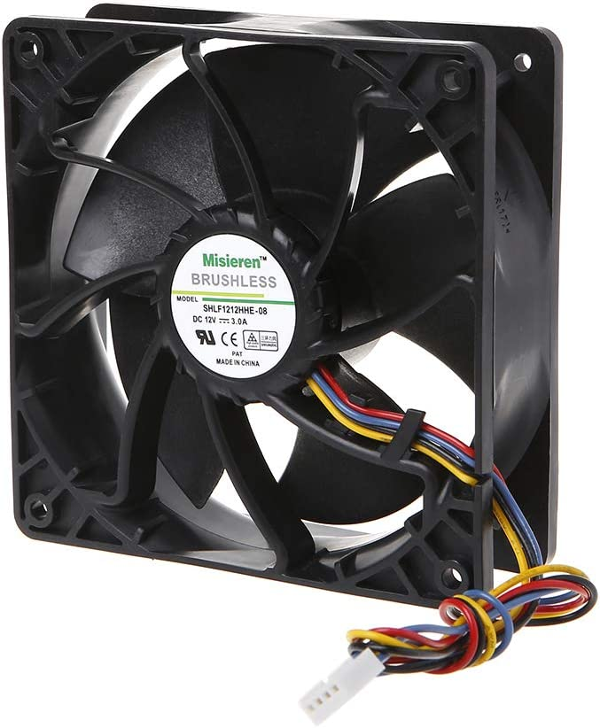 Dual Ball Bearing Brushless Miner Cooling Fan 12038 PWM Temperature Control Radiator Air Cooler V12E12BS2B5-07A02 NX613-A00-12V 3A 4-Wire MANGKE