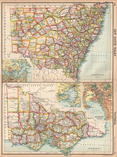 Amazoncom NEW SOUTH WALES VICTORIA Counties Melbourne Sydney - Vintage maps melbourne