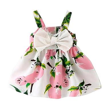 77818b40b94e0 Robes Bébé Fille 0-24M, Bonjouree Robes à Fleurs de Princesse Sans Manches  Pour