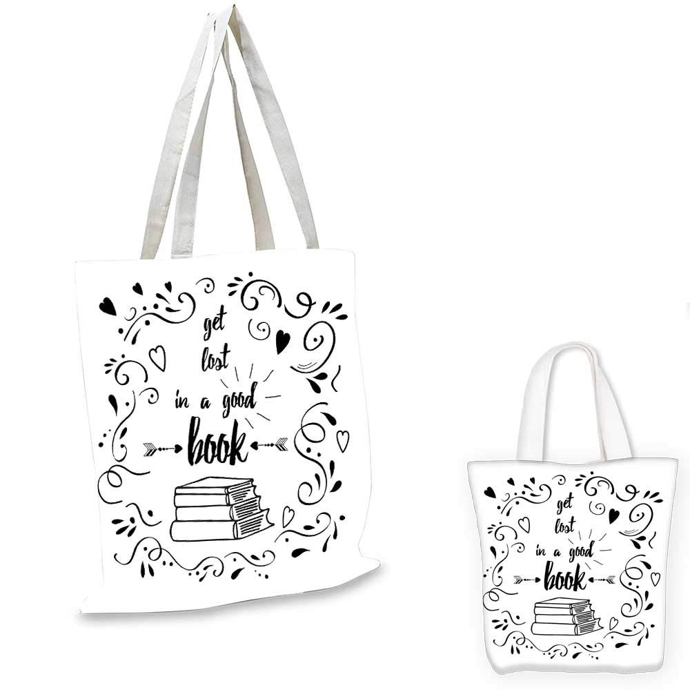 12x15-10 Book canvas messenger bag Non Stop Reading Phrase with Hand Painted Lettering Typography on White Background shopping bag for women Black White