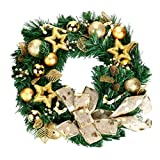 Kanzd DIY Merry Christmas Wreath 40cm Bowknot Garland Door Wreath Door Wall Ornament Decor (C)