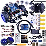 Quimat Arduino Project Smart Robot Car Kit with Two-wheel Drives,UNO R3 Board,Tracking Module,Ultrasonic Sensor and Bluetooth Remote Control,More Intelligent and Educational Car for Teens and Adults