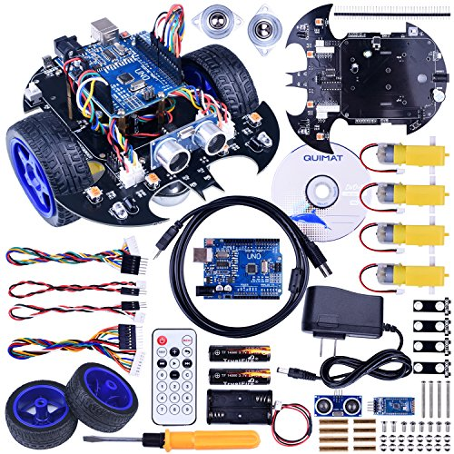 Quimat Arduino Project Smart Robot Car Kit with Two-wheel Drives,UNO R3 Board,Tracking Module,Ultrasonic Sensor and Bluetooth Remote Control,More Intelligent and Educational Car for Teens and Adults -