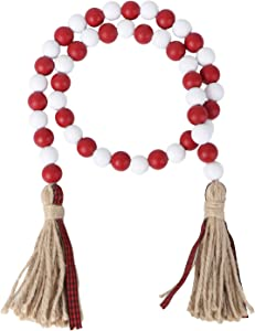 VALICLUD Wood Bead Garland with Tassels Farmhouse Bead Tassel Hanging Garland for Holiday Wedding Home Decoration Red White