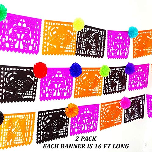 2 PK, Mexico decor, Papel Picado, 32 ft Long LARGE PAPER garland in black, orange and purple, Halloween, coco birthday party decoraion, B832 -