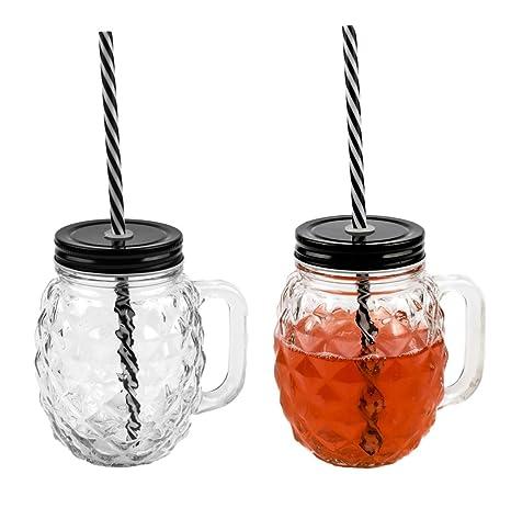 Berühmt 3D Ananas Glas Trinkglas mit Deckel und stabilem Strohhalm 500ml SC77