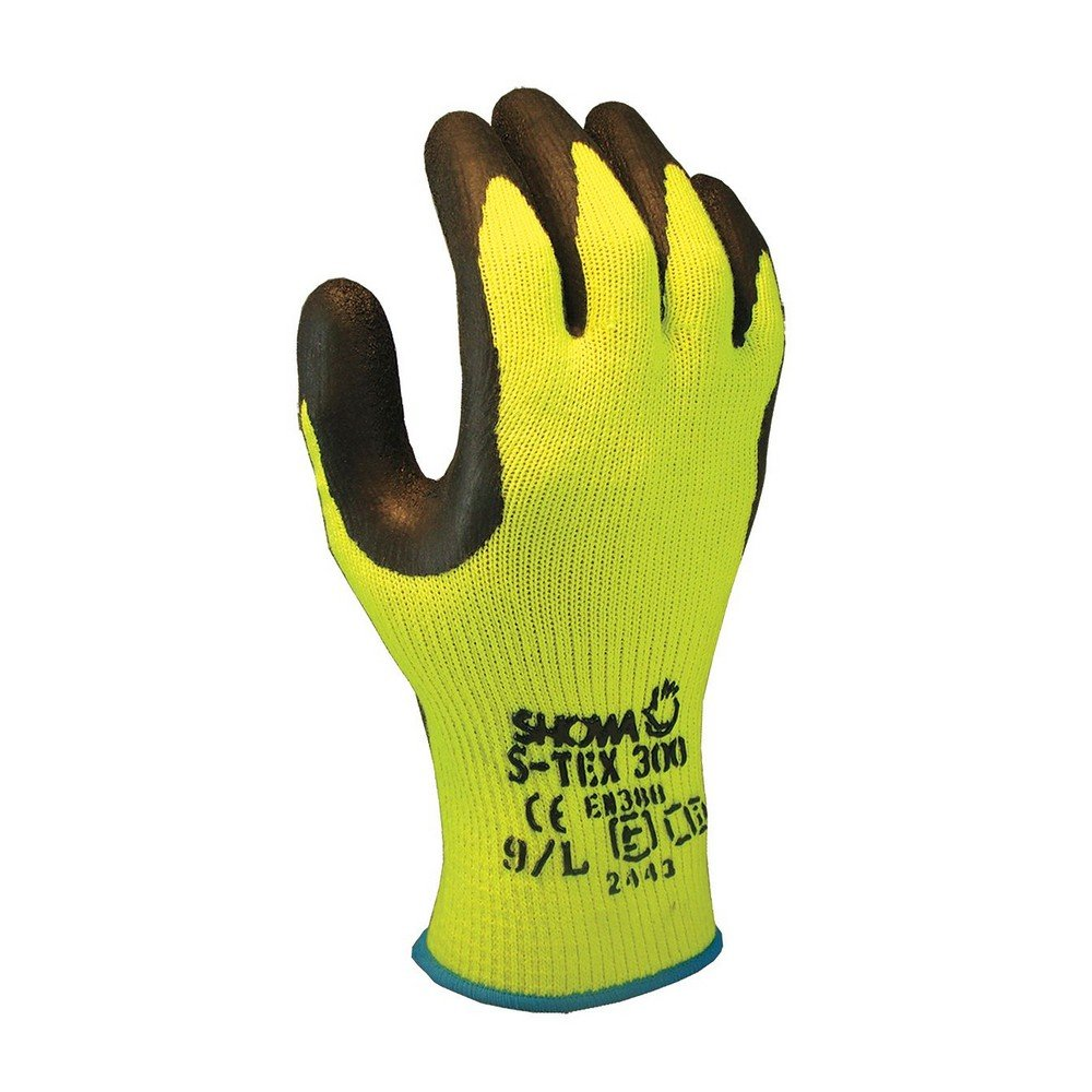 Showa Gloves STEX300-L SHOWA S-Tex STEX300 Hi-Viz Steel Blend Gloves with Latex Palm, Cut Level 4, Large, Black (Pack of 12)