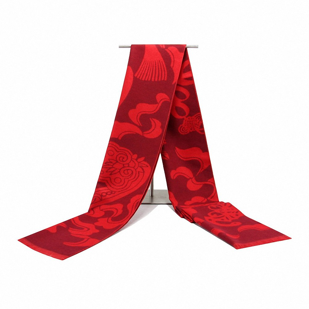 Lictory Winter Warm Scarf Men Wool Tassel Double Fine Chiese Red Scarves Men Winter Fashion Cashmere Scarf For Men Shawls And Wraps 7