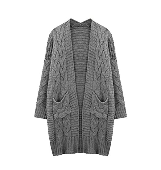 64b450e28900 YuanDian Women Autumn And Winter Casual Plus Size Long Cardigan Sweater  Loose Fit Oversized stretch Open Front Chunky Knitted Crochet Cardigan  Sweater Coat  ...