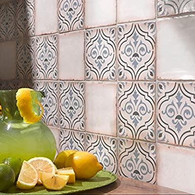 Ceramic Tile (Case of 32) Features Chronicle Fleur De Lis Complex Design with Bright Blue and Green Accents, Matte Finish, Perfect for Kitchen or Bathroom Areas