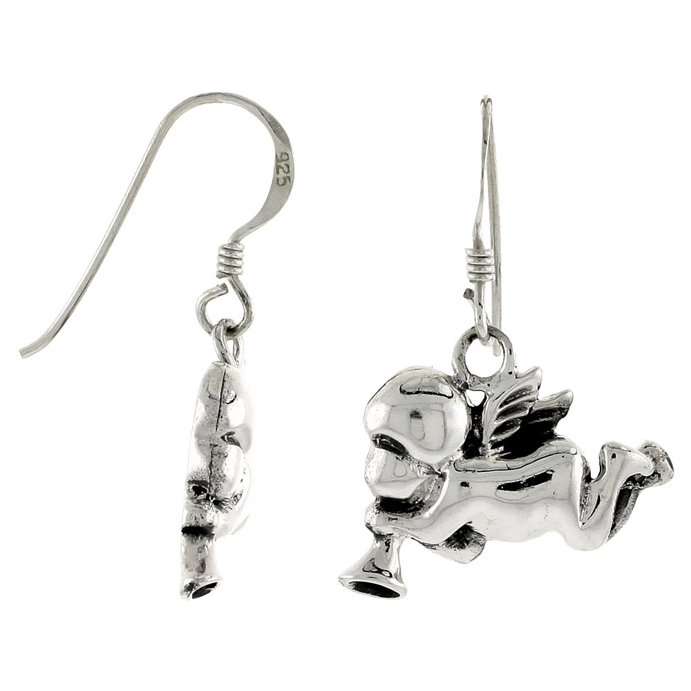 Sterling Silver Cherub Angel Blowing a Horn Earrings, 9/16 inch tall by Sabrina Silver